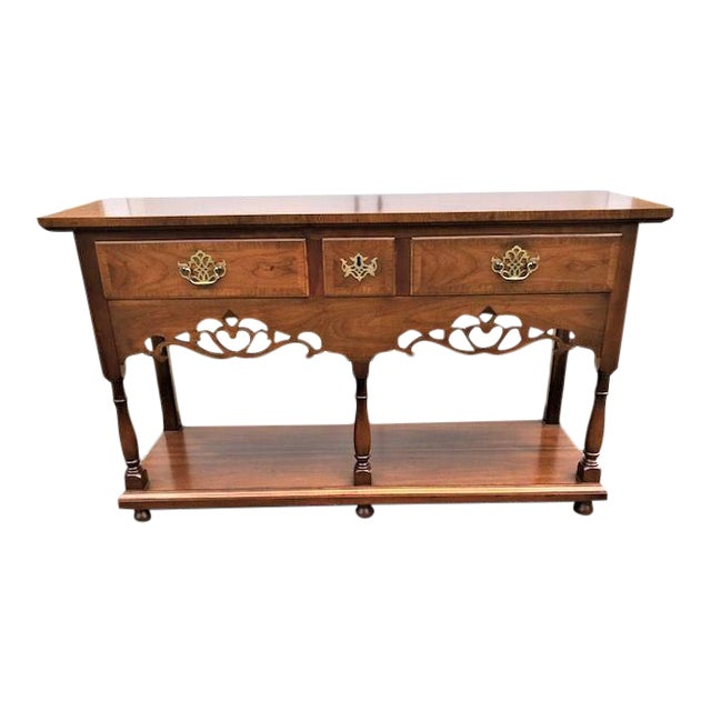 Baker English Style Inlaid Console Table For Sale