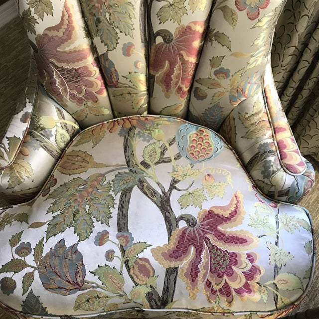 1940s Pullman Armless Floral Silk Upholstered Slipper Chairs - a Pair For Sale - Image 12 of 13