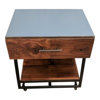 Blue Side Table With Castors