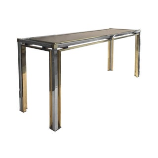 1970s Rectangular Brass and Chrome Console With Smoke Glass Top by Romeo Rega For Sale