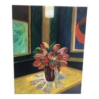Modern Still Life Painting of Tulips in Vase For Sale