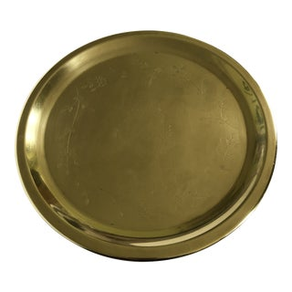 Mid-Century Round Brass & Etched Floral Motif Tray For Sale