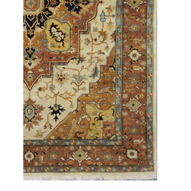 Traditional Indian Heriz Serapi Design Rug - 5-9 x 8-10 For Sale - Image 3 of 3