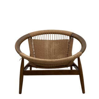 1950s Vintage Illum Wikkelso Ringstol Walnut and Woven Cord Ring Hoop Circle Chair For Sale