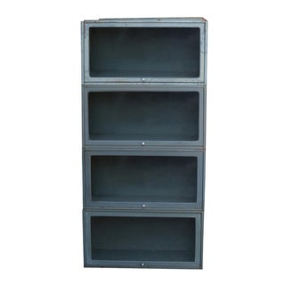 1950s Metal & Glass Science Lab Bookcase For Sale