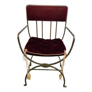 19th Century Hand Wrought Iron Regency Chair For Sale