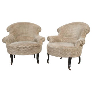 Pair of 19th Century English Upholstered Tub Chairs For Sale