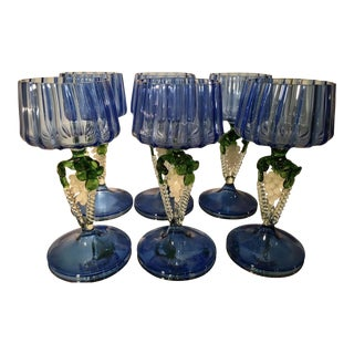 Set of 6 Antique Venetian Glass Wine Stems w Grapes & Cobalt Blue
