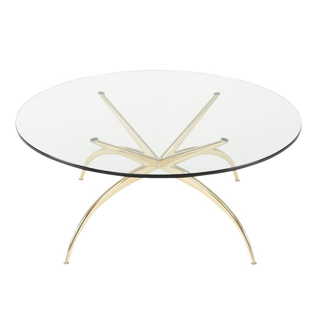 1950's VINTAGE ITALIAN BRASS COFFEE TABLE For Sale