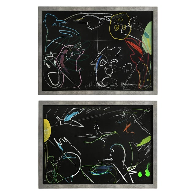 """Underworld Heavenly Baseball"" Framed Drawings - a Pair For Sale"