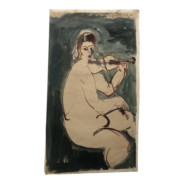 Mid-Century Female Nude With Violin Watercolor 1960s For Sale