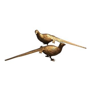 1960s Vintage Brass Holiday Pheasant Models - A Pair For Sale