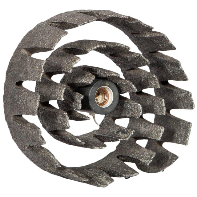 German Mid-Century Wheel Sculpture and Lamp with Brutalist Design For Sale