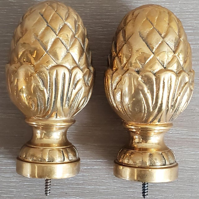 Brass Brass Curtain Tie Back Finials - a Pair For Sale - Image 8 of 8