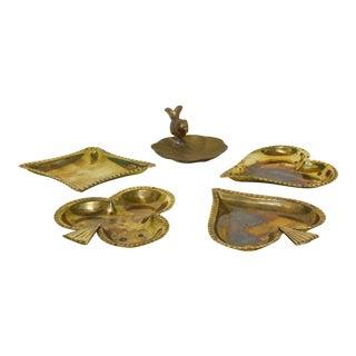 1960s Vintage Brass Ashtrays - Set of 5 For Sale