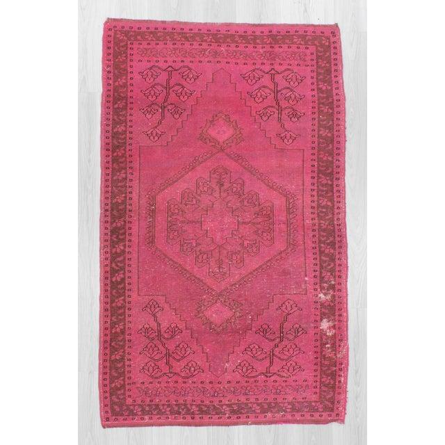 Vintage fushia overdyed rug from Konya region of Turkey.İn good condiiton.Approximately 50-60 years old