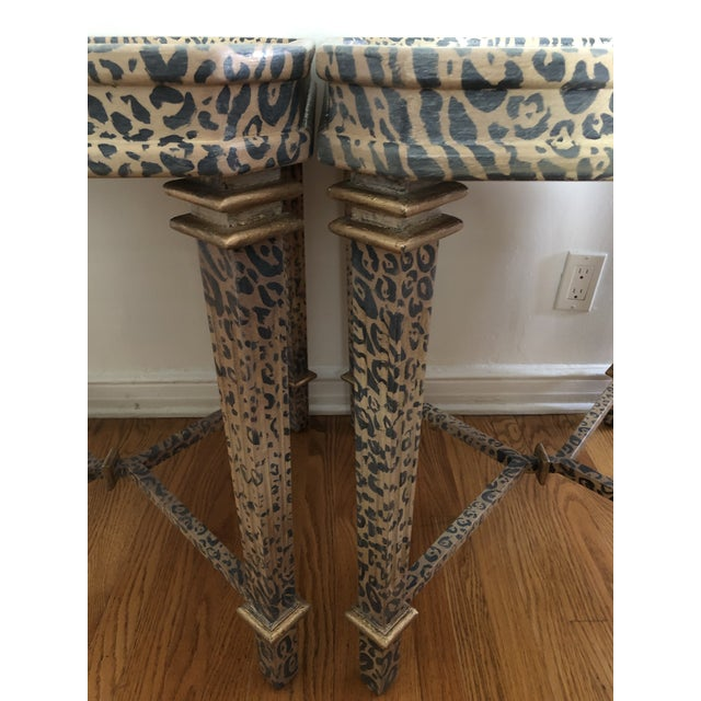 Beige Neoclassical Hand Painted Faux Leopard Side Tables - a Pair For Sale - Image 8 of 10