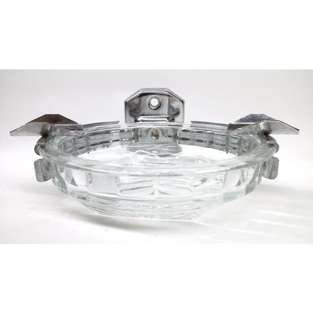 Art Deco Deco Hotel Glass & Stainless Ashtray For Sale - Image 3 of 7