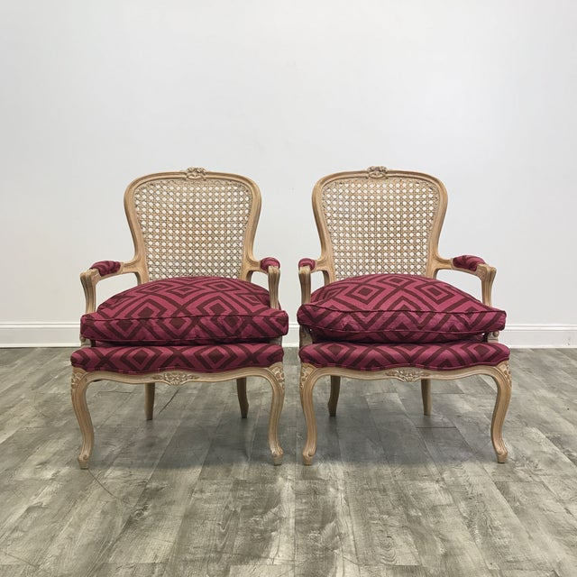 Pair of Pink Upholstered Cane Back Accent Chairs - Image 2 of 4
