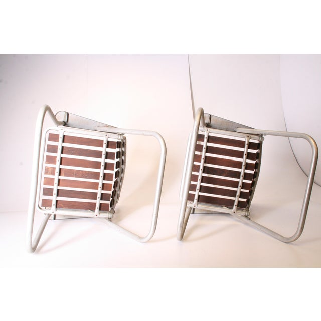 Mid Century Redwood Aluminum Folding Patio Chairs - A Pair For Sale - Image 10 of 11