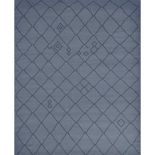 Contemporary Blue Handwoven Wool Moroccan Inspired Flatweave Rug For Sale - Image 10 of 10