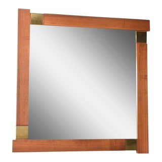 Large Italian Modern Walnut and Brass Mirror, Attributed to Giovanni Michelucci For Sale