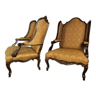 Marge Carson Palais French Louis XV Wing Fauteuil Armchairs - a Pair For Sale