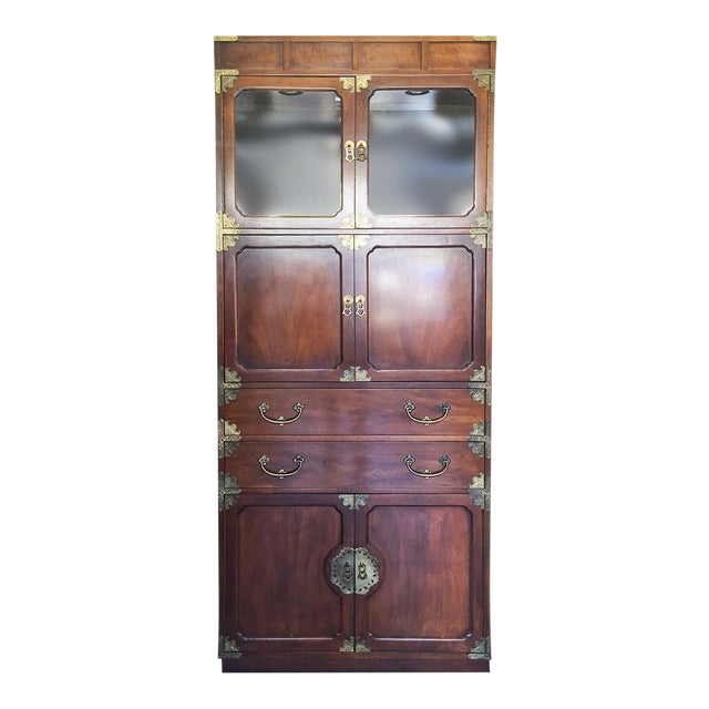 Henredon Etched Brass Chinoiserie Campaign Bar Desk Bookcase Cabinet For Sale