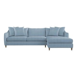 Bernhardt x Chairish Joli Two-Piece Sectional, Blue Velvet For Sale