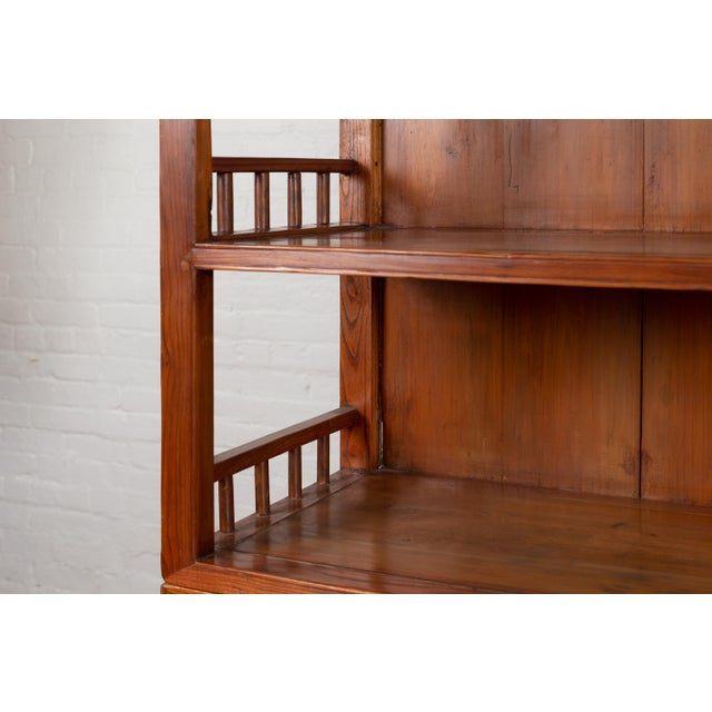 Vintage Chinese Two-Part Elmwood Bookcase With Pillar-Shaped Strut Motifs For Sale - Image 11 of 13