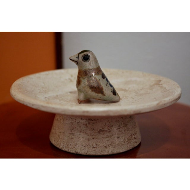 1960s Jorge Wilmot Miniature Pottery Owl on Travertine Pedestal For Sale - Image 5 of 5