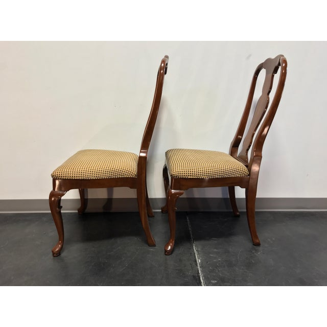 1980s Solid Cherry Queen Anne Dining Side Chairs by Fancher - Pair 2 For Sale - Image 5 of 9