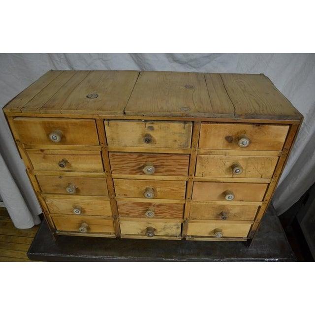 Vintage Handcrafted 15-Drawer Pine Storage Cabinet - Image 4 of 10