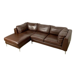Chocolate Brown Leather Italian Sectional Sofa by Nicoletti Studios For Sale