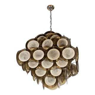 Modernist Pagoda-Style Diamond Shape Chandelier with Smoked Topaz Discs For Sale