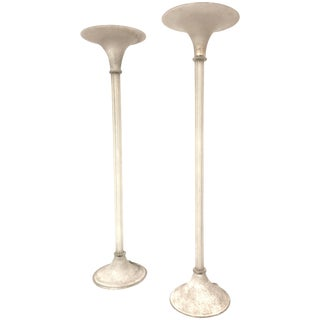 Karl Springer Scavo Murano Glass Floor Lamps Torchieres by Seguso For Sale