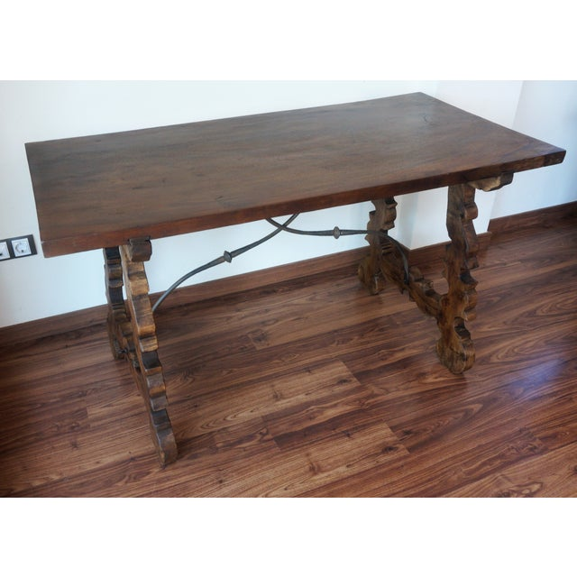 Baroque 18th Century Refectory Spanish Table with Lyre Legs For Sale - Image 3 of 8