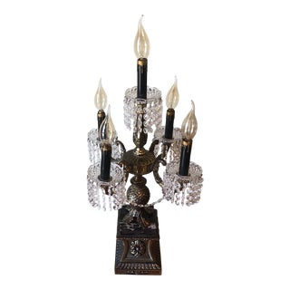 Vintage Rococo Crystal Chandelier Table Lamp