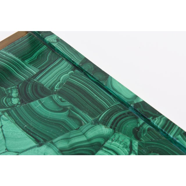 Metal R&Y Augousti Faux Malachite Compostion Wood and Brass Tray For Sale - Image 7 of 10