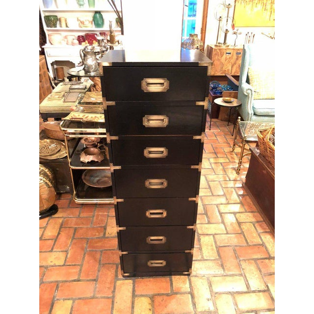 Tall Black Campaign Chest of Drawers with Brass Accents. Also could be called a semanier, as it has seven drawers. Nice...