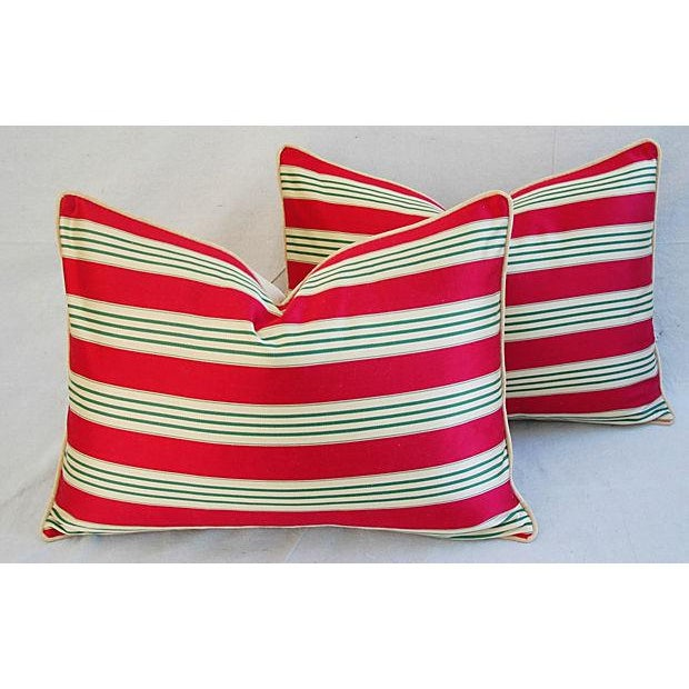Pair of large custom-tailored pillows in a vintage/never used red, green and gold striped cotton ticking fabric from...