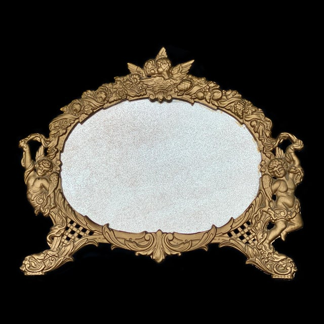Vintage French Rococo Louis XV Gilded Brass Cherub Motif Oval Table Mirror For Sale - Image 10 of 10