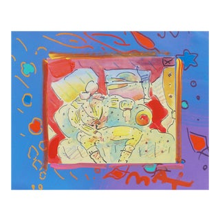 1990s Vintage Peter Max Mixed-Media Enamel on Lithograph For Sale