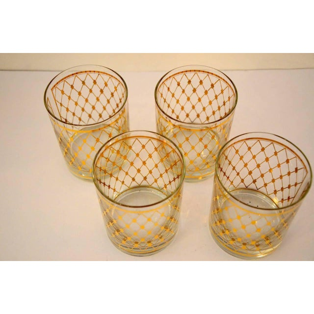 """Set of Four Georges Briard """"Harlequin"""" Pattern Double Old Fashioned Glasses - Image 4 of 4"""