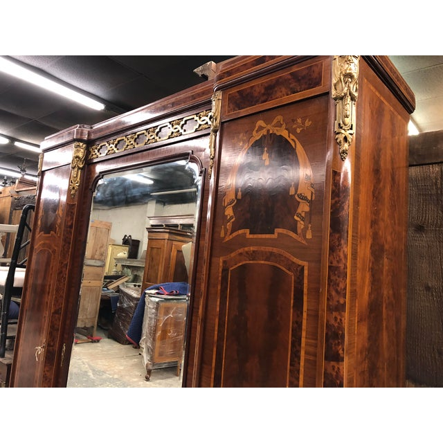 19th Century French Neoclassical Mirrored Armoire For Sale - Image 4 of 13