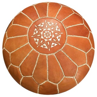 Moroccan Leather Light Tan Pouf by Mpw Plaza (Unstuffed) For Sale