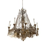 Image of 19th C. Italian Antique Element Carved Wood, Iron and Crystal Chandelier For Sale