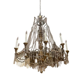 19th C. Italian Antique Element Carved Wood, Iron and Crystal Chandelier For Sale
