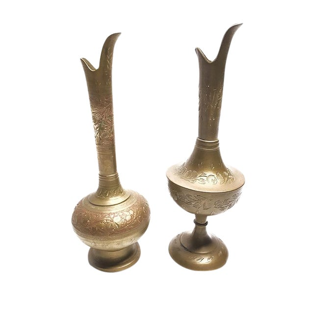 Vintage Mid-Century Ornate Hand Etched Brass Decanters / Vases - a Pair For Sale