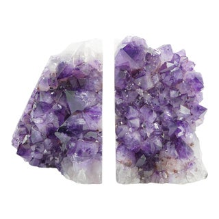 Large Amethyst Geode Bookends - a Pair For Sale